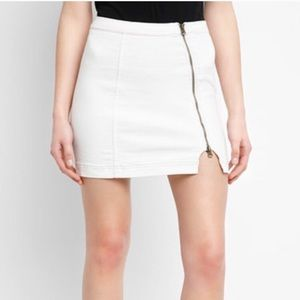 Free People This Way or That Zip White Denim Skirt